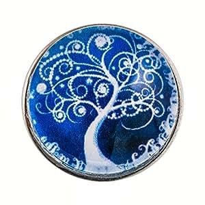 Morella Damen Click-Button Wunder Baum blau weiß
