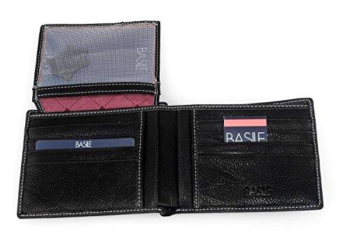 Portafoglio uomo BASILE nero vera pelle porta carte di credito con patta A3342