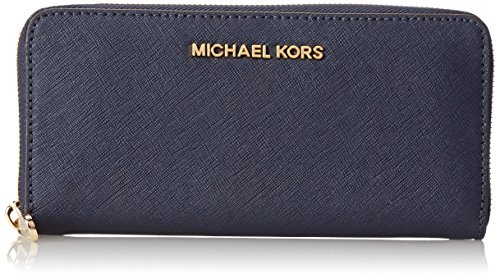 Michael Kors Jet Set Continental Saffiano Wallet In Navy
