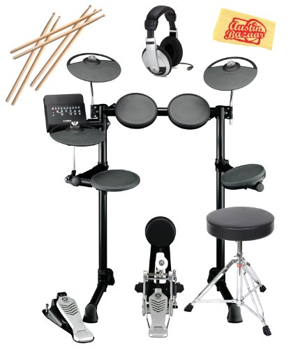 Yamaha Dtx Series Dtx450K Electronic Drum Set Bundle With Drum Throne, Drum Stick Pack, Headphones, And Polishing Cloth