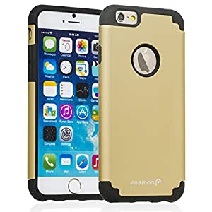 """Fosmon HYBO-DUOC Slim Fit Dual-Layer Hybrid Case for Apple iPhone 6 (4.7"""") (Black / Gold)"""