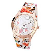 ZPS(TM) Women Silicone Printed Flower Causal Quartz Wrist Watches Orange from ZPS