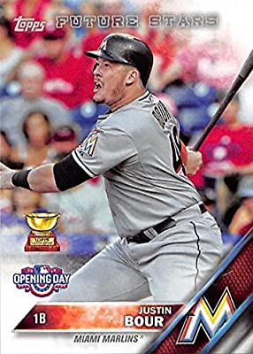 Justin Bour baseball card (Miami Marlins) 2016 Topps Opening Day All Star Rookie Cup #OD-181