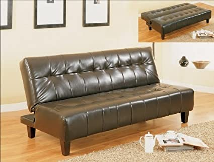 Tufted Bi-cast Leather Adjustable Sofa Bed
