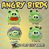51uY4c%2BnUxL. SL160  Set of 4 Angry Birds PIGS 8   Piglet, King, Grandpa & Helmet All with Sound and FREE Silly Bandz