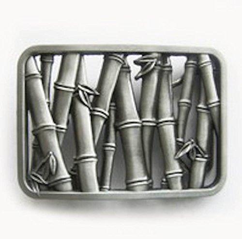 Silver Men Belt Buckle (Original Vintage Bamboo) Gurtelschnalle Boucle De Ceinture