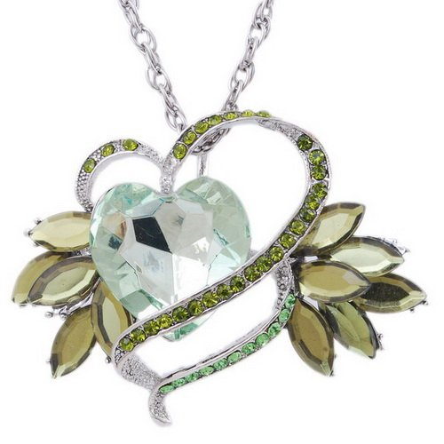 Imitate Zircon Pendant Necklace Wedding Chain Alloy Heart Rhinestone LIGHTGREEN