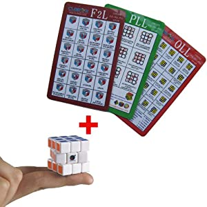 Professional Speedcubing CFOP Rubik's Cube 3x3x3 Speed Solving Methods Cards Set + DianSheng 3cm Mini Magic Cube