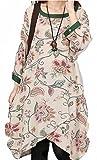 コットンプリントドレス ラウンドネック 7分袖 ワンピース ゆったり ふんわり 大きいサイズ 体型カバー マタニティー(緑色L)