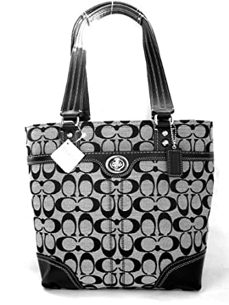 coach signature htons book bag purse tote 13973 black white clothing