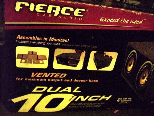 "Fierce Audio - 10"" Dual Ported / Vented Flat Pack Bass Subwoofer Enclosure / Box - Fpsp210.1"