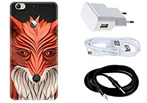 Spygen LeEco LeTV 1S Case Combo of Premium Quality Designer Printed 3D Lightweight Slim Matte Finish Hard Case Back Cover + Charger Adapter + High Speed Data Cable + Premium Quality Aux