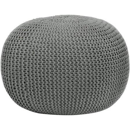 Round Knit Pouf, Grey, Serves As Both a Place to Prop up Your Feet and a Decorative Accent Piece by Urban Shop [並行輸入品]