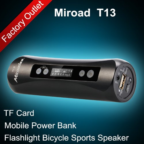 Black Color Miroad T13 7-In-1 Bicycle Sports Flashlight Hi-Fi Mp3 Speaker Subwoofer Mini Portable Tf Card Fm Radio Record Mobile Power Bank For Iphone Samsung Nokia Htc Mobile Smartphones