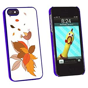 Graphics and More Fall Changing Leaves and Singing Bird - Snap-On Hard Protective Case for Apple iPhone 5/5s - Non-Retail Packaging - Blue