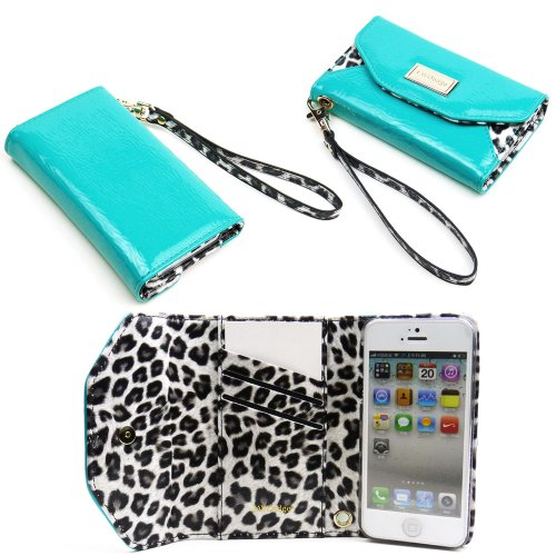Best Price JAVOedge Leopard Clutch Wallet Case with Wristlet for the Apple iPhone 5s, iPhone 5 (Turquoise)
