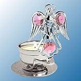 Chrome Plated Angel W/ Heart Tea Light Candle Holder - Pink - Swarovski Crystal