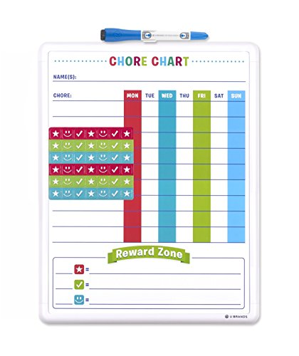 U Brands Contempo Magnetic Dry Erase Chore Chart, 11 x 14 Inches, White Frame