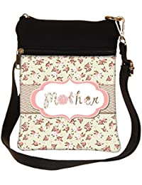 Snoogg Hand Drawn Vector Floral Frame With A Word Mother Great Mothers Day Card Cross Body Tote Bag / Shoulder...