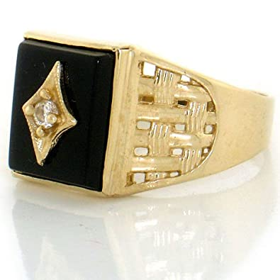 14ct Solid Yellow Gold Onyx Fancy Mens Ring
