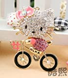 Beautiful 3D Luxury PINK Hello Kitty On BIKE Figure New Fashion Rhinestone Crystal Keychain Purse Clipper Chain Gift Comes with 1 Retro Wooden Textured Charm