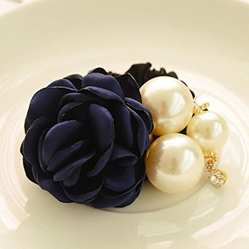 Ouneed® Porte-Femmes Ruban Satin Rose Flower Pearls cheveux Band Ponytail Hair Band (bleu)