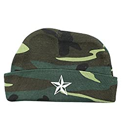 Crazy Baby Clothing White Star Baby Beanie One Size in Color Woodland Camo