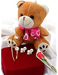 VALENTINE SPECIAL COMBO OF CZ BRACELET, CZ EARRING, TEDDY BEAR WITH KEY CHAIN AND PLASTIC ROSE FLOWER FOR HER