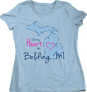 Buy I Left my Heart in Belding, MI Ladies' T-shirt | Michigan Pride by Ann Arbor T-shirt Company
