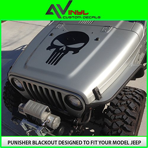 Hood Decal Punisher Skull Blackout Matte Black W/ Install Kit Fits Jeep Wrangler Jk Tj Yj Xj Universal (Vinyl)