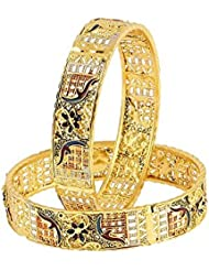 Zeneme Designer Precious Gold Plated Copper Bangle Set Jewellery For Women / Girls