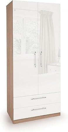 Kew 2 Door Wardrobe with 2 Drawers Oak White | Bedroom Furniture