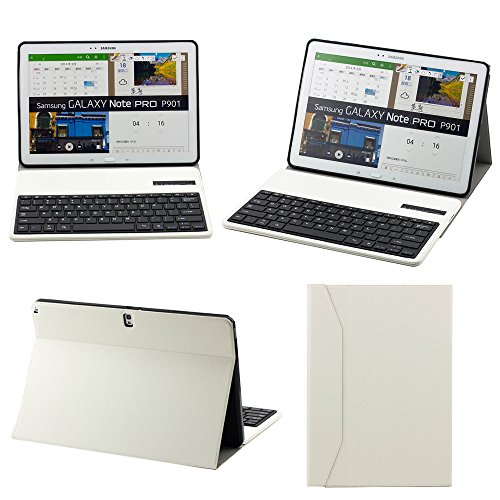 """Supernight Protective Pu Leather Stand Case Cover With Detachable Removable Wireless Bluetooth Keyboard For Galaxy Notepro / Note Pro 12.2"""" 12.2 Inch P900 P901 P905 Tablet,Samsung Galaxy Note Pro 12.2 Inch Keyboard Case.Color:White"""
