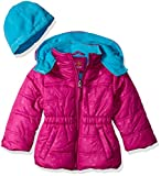Pink Platinum Baby Girls Star Printed Puffer with Hat, Berry, 18 Months