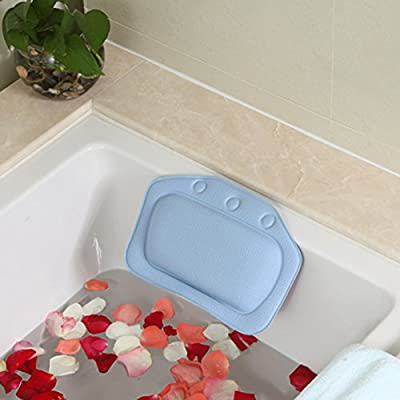 Bath Pillow AnGeer PVC Foam with Suction Cups Washable and Waterproof Pillows for Bathtubs