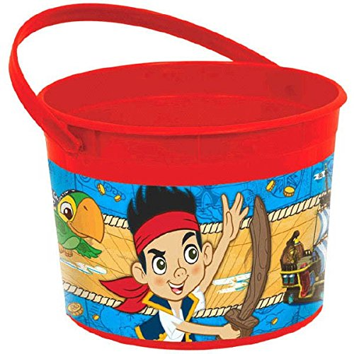 Amscan Piratey Cool Disney Jake & The Never Land Pirates Plastic Container (1 Piece), Red, 4 1/2 x 6 1/4""