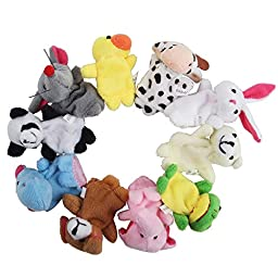 niceEshop(TM) Cute Velvet Animal Style Finger Puppets Set (Set of 10)