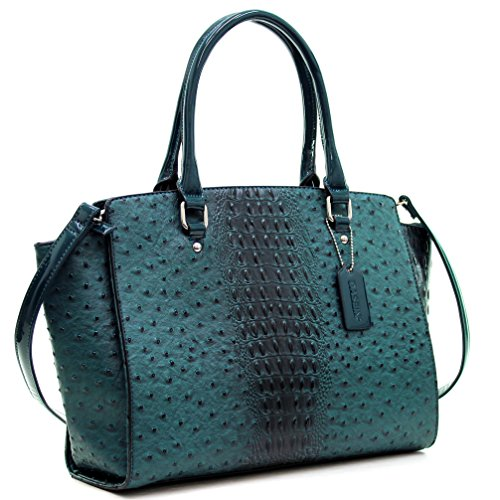 dasein-faux-ostrich-leather-winged-satchel-with-patent-trim-green