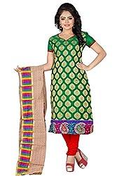 JHEENU Green Women's Banarsi Jequard unstitched Straight Salwar Suit dress ma...