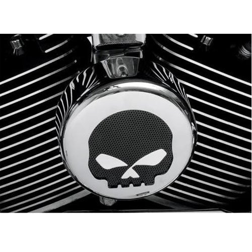 BKRider Chrome/Black Skull Round Horn Cover For Harley-Davidson