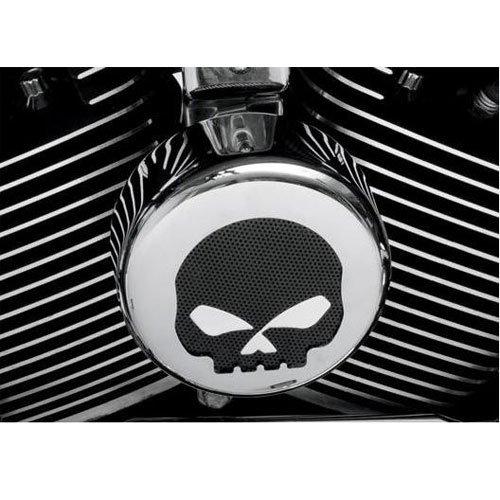 BKRider Chrome/Black Skull Round Horn Cover For Harley-Davidson