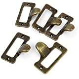 Home Cabinet Drawer Door Tag Style Pulls Handle Bronze Tone 5 Pcs