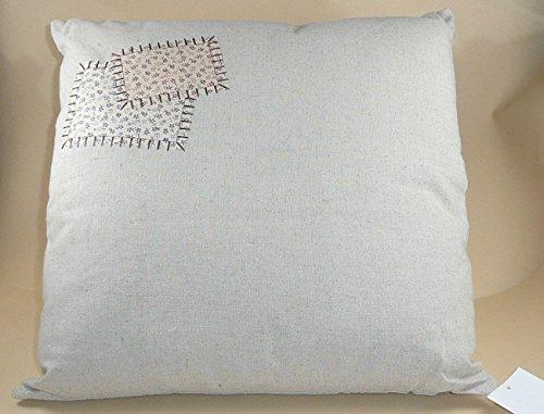Dekokissen mit aufgenähten Flicken Leinen Kissen günstig kaufen