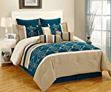9 Piece King Marmaro Teal and Taupe Comforter Set