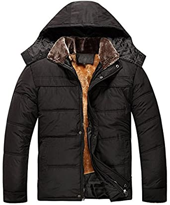 Fashciaga Men's Hooded Faux Fur Winter Coats at Amazon Men