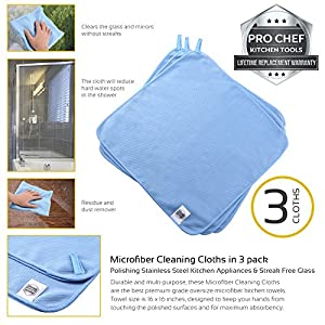 Microfiber Cleaning Cloths for Polishing Stainless Steel Kitchen Appliances & Streak Free Glass 3pk