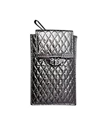 Bhamini Quilted Mobile Cover (Dark Silver)