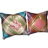 2 Deep Blue Pink Sandstrom Sari Zari Borders Toss Pillow Cushion Coversby Mogulinterior