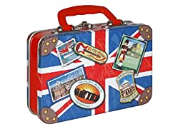 Candy English Toffee in British Union Jack Suitcase Candy Box Tin 7.5 oz.
