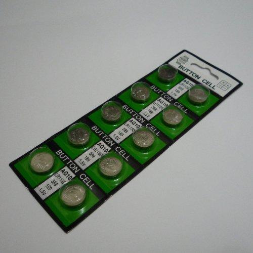 送料無料! LR1130 アルカリボタン電池 10個セット 【AG10、LR54互換品】